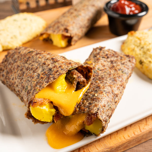 BEC (Bacon Egg Cheddar) Breakfast Wrap with Hash Brown & Keto Ketchup