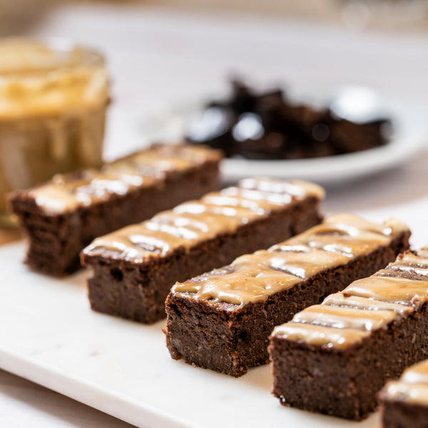 Keto brownies with caramel drizzle plated