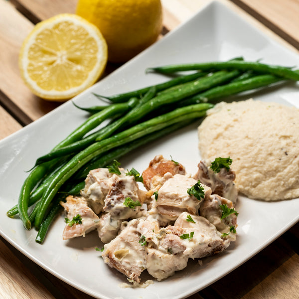 Chicken Piccata on Cauliflower Mash with Green Beans