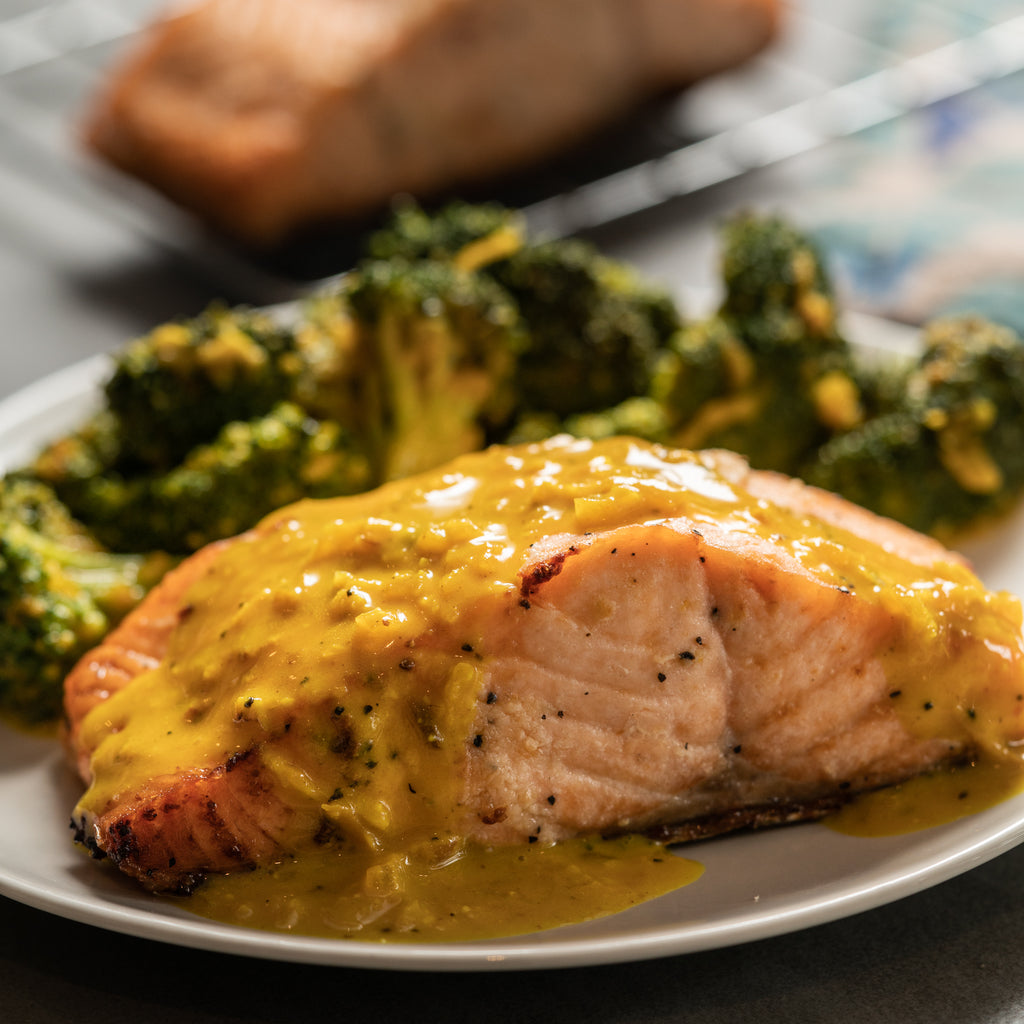 Keto Salmon and Creamy Turmeric Veggies