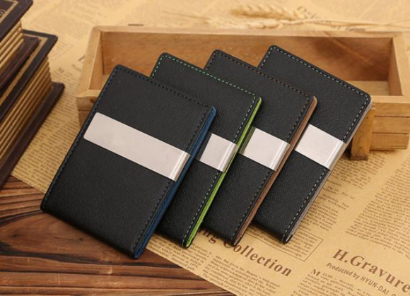 Jinbaolai Vertical Leather Money Clip Wallet