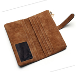 Tauren Nubuck Leather Zipper Clutch