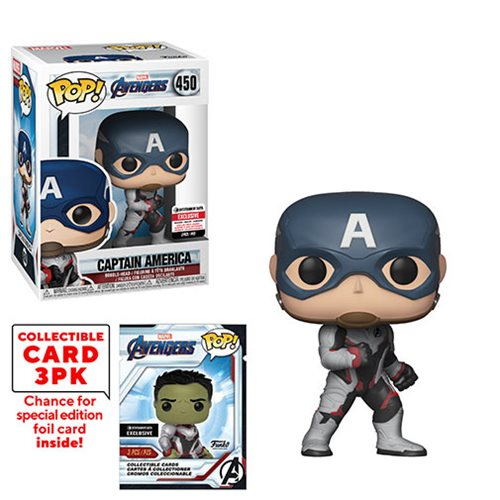Avengers: Endgame Captain America Pop! Vinyl Figure #450 with Collector Cards - Entertainment Earth Exclusive