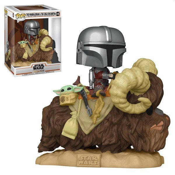 Star Wars: The Mandalorian Mando on Bantha with Child in Bag Deluxe Pop! Vinyl Figure #416