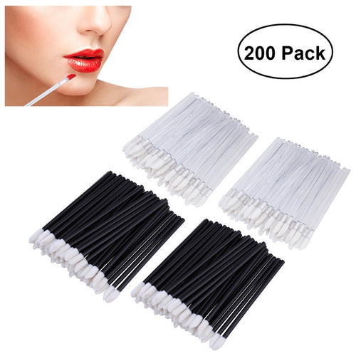 PIXNOR 200pcs Disposable Lip Brushes Lipstick Gloss Wands Applicator Makeup Tool Kits
