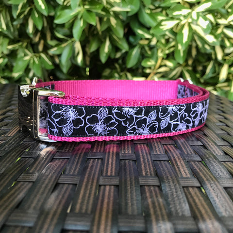Pink Hibiscus Dog Collar