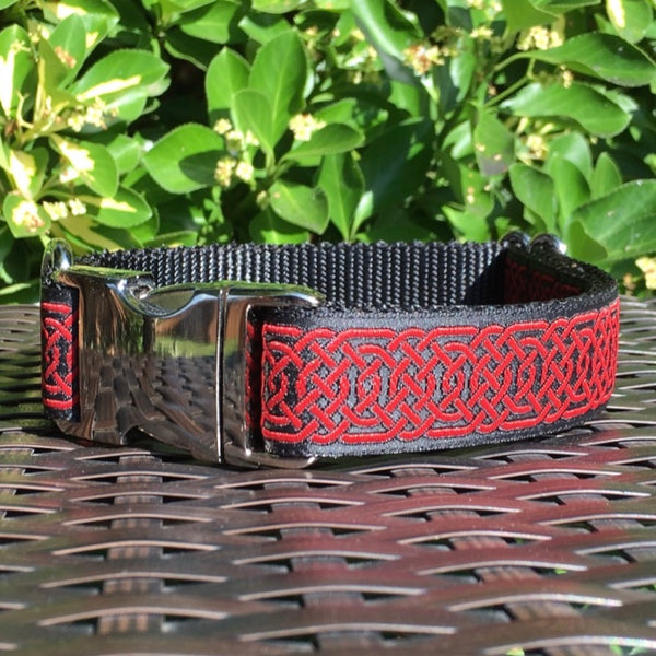 Red Celtic Circles Dog Collar - Hound Lines