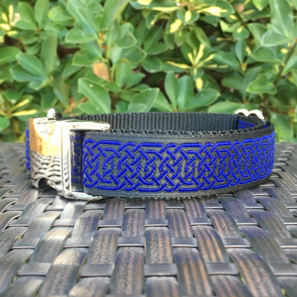 Blue Celtic Circles Dog Collar