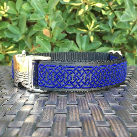 Blue Celtic Circles Dog Collar - Hound Lines