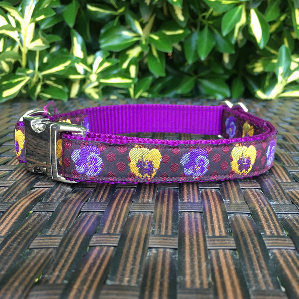 Purple Pansies Dog Collar - Hound Lines