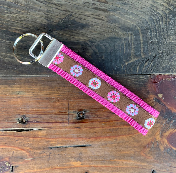 Pink Floral Key Fob - Hound Lines