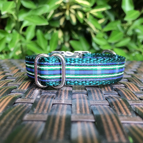 Green Plaid Dog Collar - Hound Lines