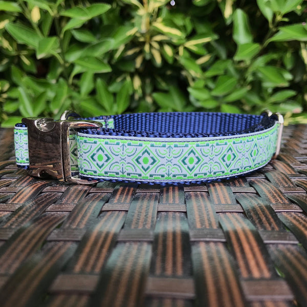 Blue Geometric Dog Collar - Hound Lines