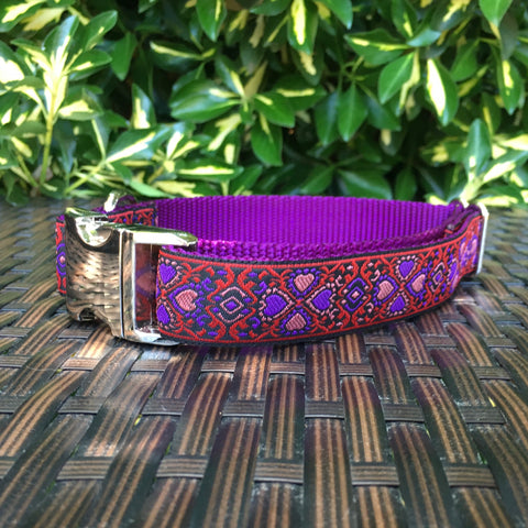 Lucky Hearts in Red Dog Collar