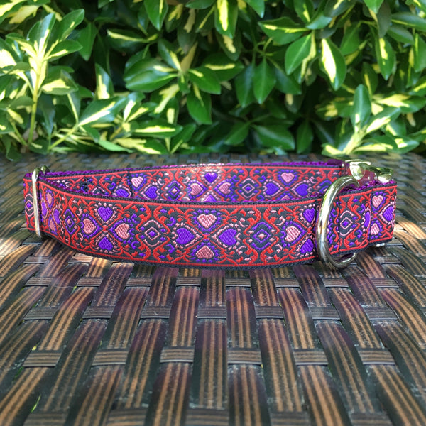 Lucky Hearts in Red Dog Collar - Hound Lines