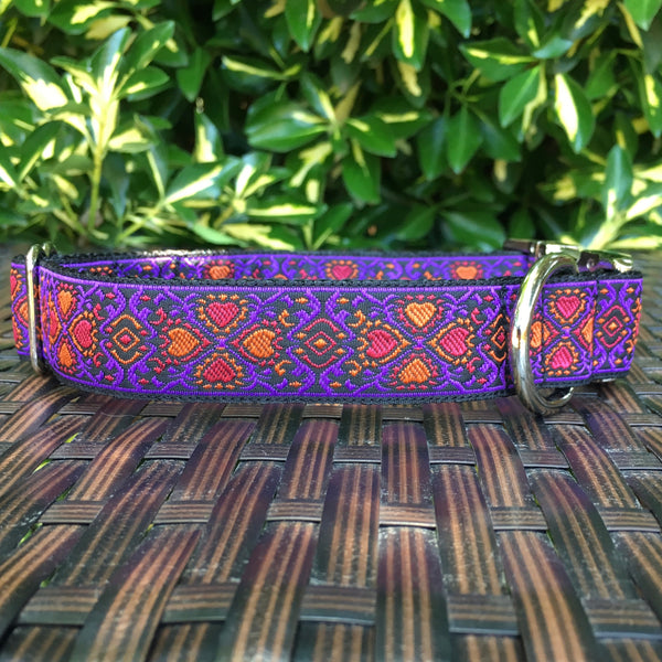 Lucky Hearts in Purple Dog Collar - Hound Lines
