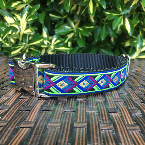 Green Geometric Dog Collar - Hound Lines