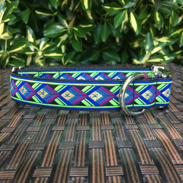 Green Geometric Dog Collar