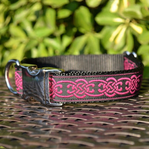 Celtic Dog Collar - Magenta Chain - Hound Lines
