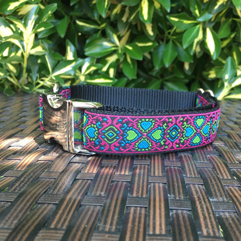 Lucky Hearts in Pink Dog Collar - Hound Lines