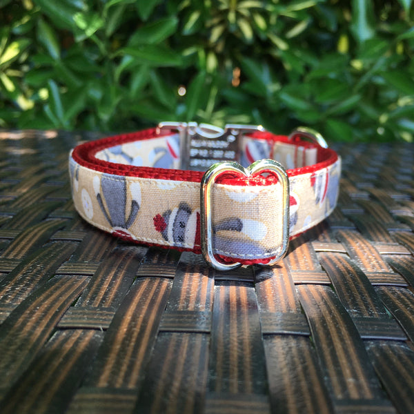 Sock Monkeys Dog Collar - Hound Lines