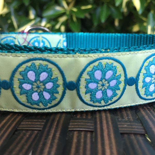 Green Flower Rings Dog Collar - Hound Lines