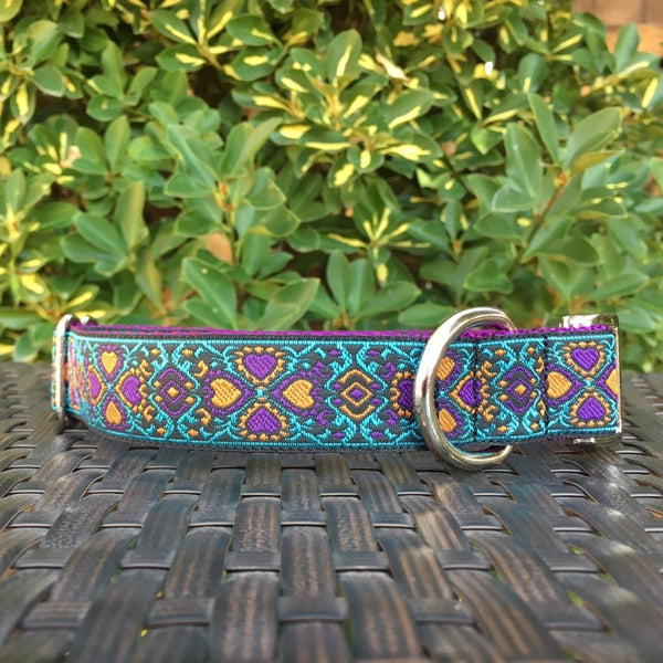 Lucky Hearts in Teal Dog Collar - Hound Lines
