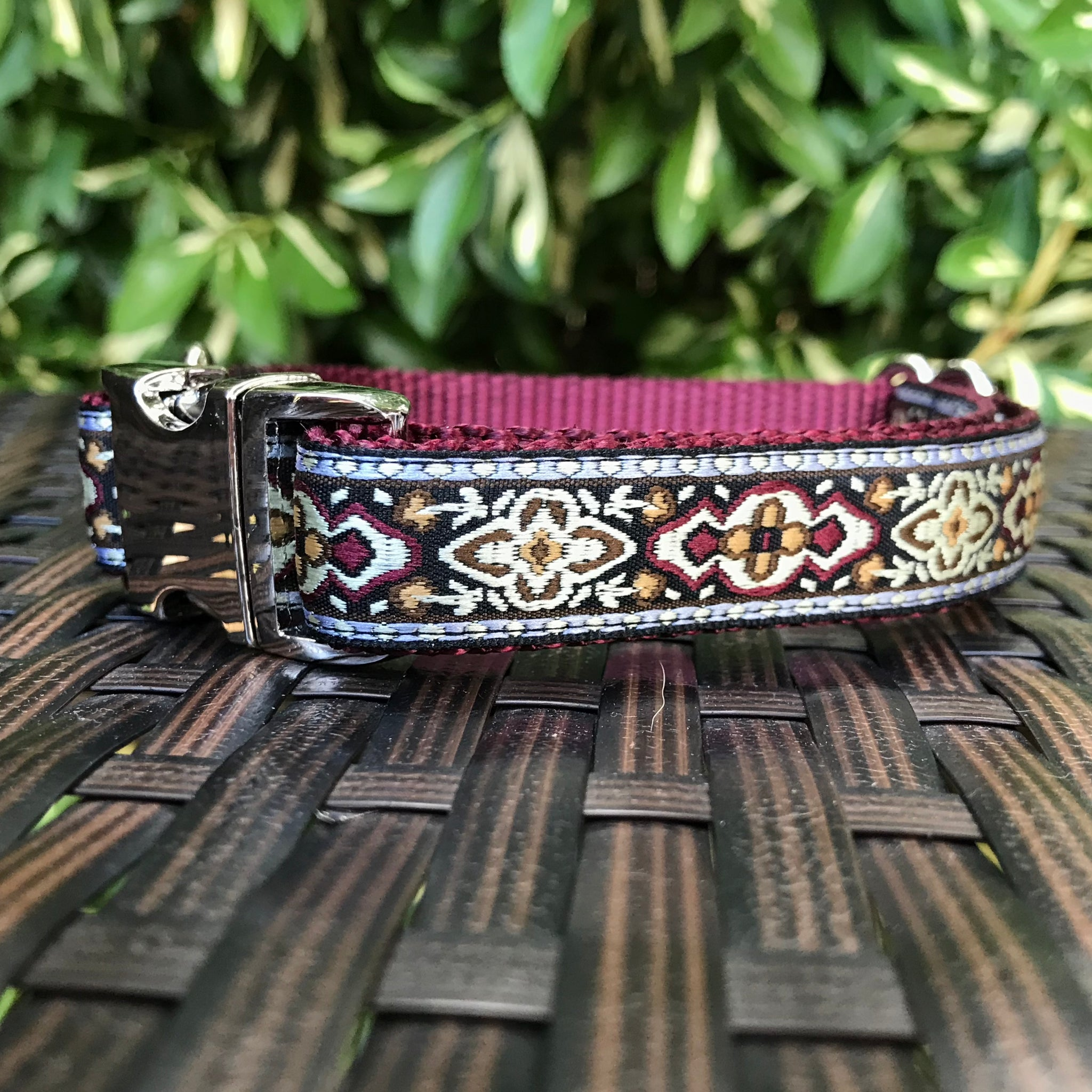 Burgundy Dublin Dog Collar - Hound Lines
