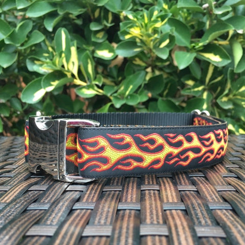 Orange Flames Dog Collar - Hound Lines