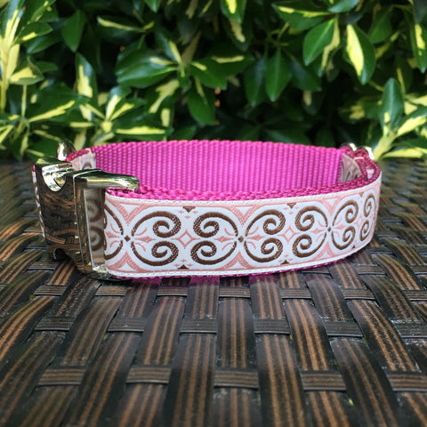 Celtic Dog Collar - Pink Swirls - Hound Lines
