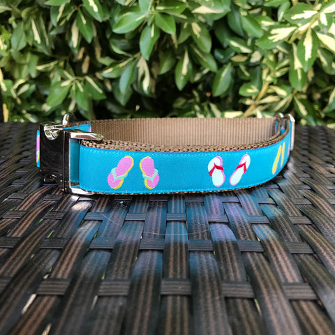 Flip Flops in Teal Dog Collar - Hound Lines