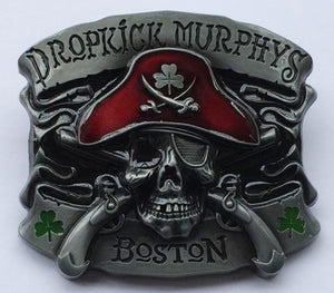 Boucle de ceinture , Pirate , tete de mort , trefle , DROPKICK MURPHYS BOSTON