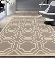 Geometric Gray/Grey Off-White Area Rugs
