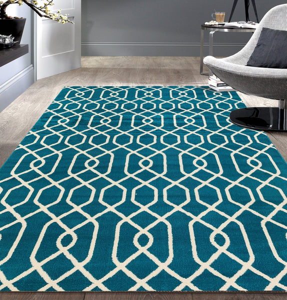 Modern Trellis Blue White Area Rugs