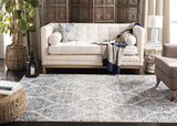 Geometric Trellis Distressed Cream/Royal Blue  Soft Area Rug