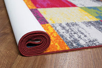 Modern Checks Multi-color Area Rug Non-Slip/ No Skid