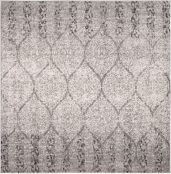 Geometric Trellis Distressed Grey/Ivory  Soft Area Rug