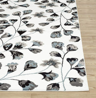 Modern Floral Art White Area Rug