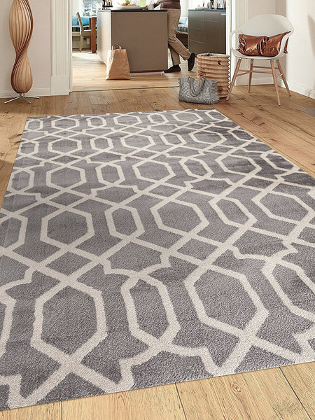 Gray/Grey Trellis Area Rug