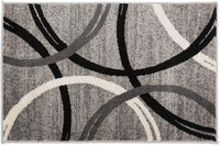 Contemporary Circles Pattern Gray Black Area Rugs
