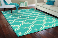Moroccan Teal/White Area Rugs