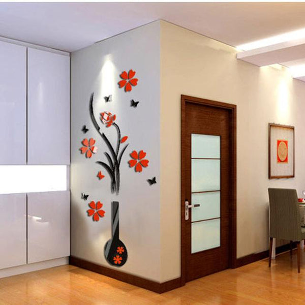 Flower Tree Crystal Acrylic 3D Wall Decal Stickers
