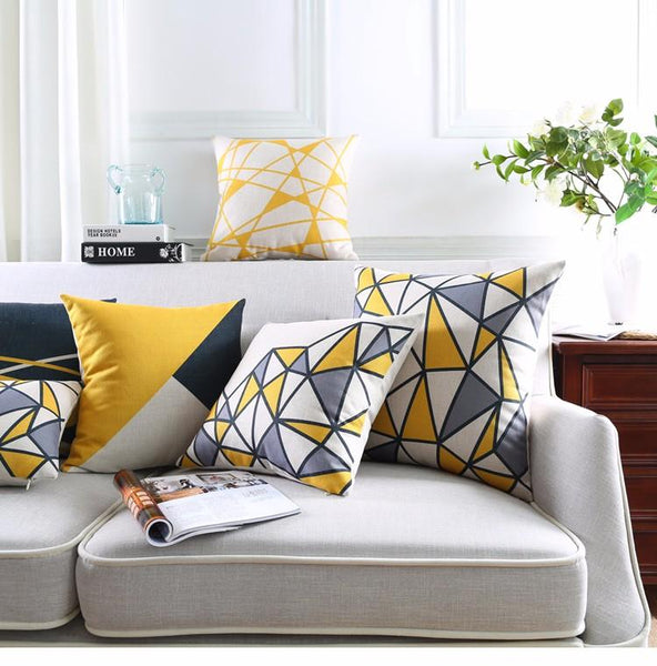Yellow Grey Geometric Cushion Cover