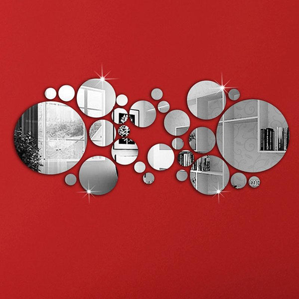 Silver Circle Mirror Wall Decal Stickers