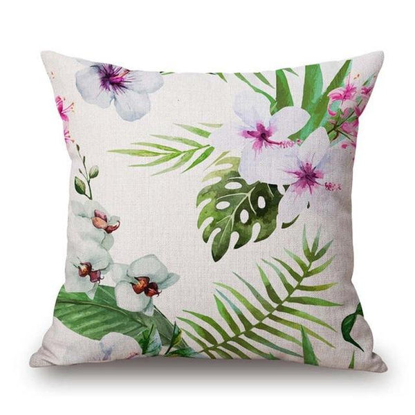 Tropic Tree Green Throw Pillow Covers