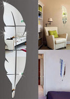 Modern Plume Feather Acrylic Mirror Decal Wall Stickers