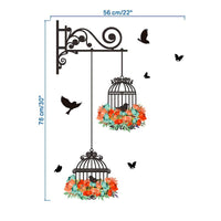 Birdcage Flower Flying Wall Stickers Vinyl Wall Decals