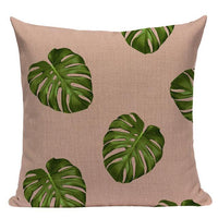 Tropic Palm Leaf Throw Pillow Covers