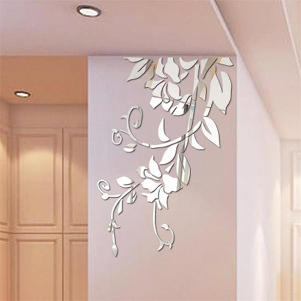 3D Mirror flower Vine wall sticker Acrylic decal removable floral Tree Branch stickers 54*79CM