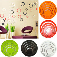 Circles 3D Removable Art Wall Stickers Multi-Colors Decoration Decals